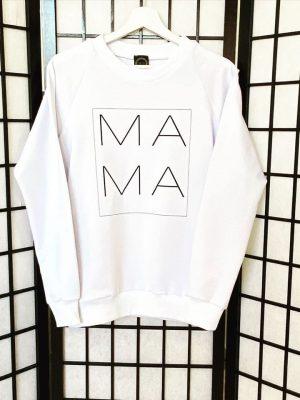 Baltas džemperis Mama
