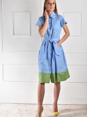 Catiusha marškinių suknelė trumpom rankovėm Darwin žydra