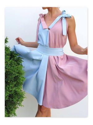 dvispalvė suknelė su kaspinėliais